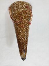 "Murano Conicity Art Glass Brown Amber Pendant Light Shade, 16 1/2"" Tall x 8"" Dia"