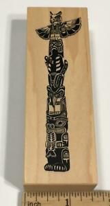 PSX Pacific Northwest Totem Pole Rubber Stamp G-1522 Native Indigenous Spirit