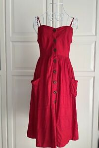 Lyon Cotton Dress Size 8 Red