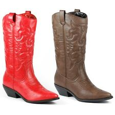 Faux Leather Cowboy Western Mid-Calf Riding Boot SODA Reno-s Red Brown