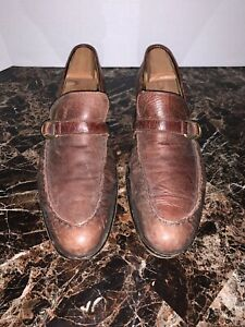 Billy Reid Men 8.5 Buckle Bit Slip On Loafers Brown Leather Italy Made 713