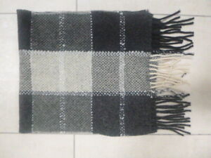 NEXT Shetland Wool Grey Check Scarf, Ex. Cond.