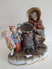 Vintage Capodimonte Figurine Children Buying Chestnuts Roberto Brambilla #H1