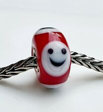 TROLLBEADS RED SMILEY WITH A WHITE FACE