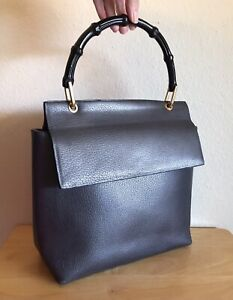 Gucci Dark Gray Leather GG Bamboo Handbag Medium Vintage Satchel Tote Bag