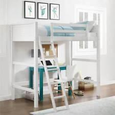 Kids TWIN Wood Bunk LOFT OVER DESK Bed White/Walnut Sturdy Ladder EITHER SIDE