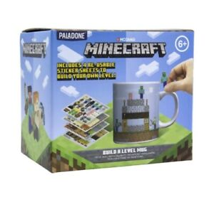 Minecraft Build a Level Mug With 4x Sheets of Reusable Stickers UK SELLER 🇬🇧