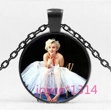 Marilyn Monroe Cabochon black Glass Chain Pendant Necklace HS-5757