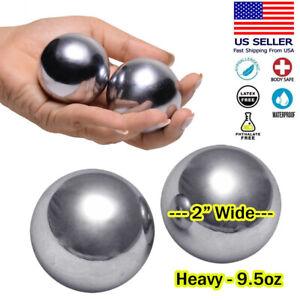 Huge XL Steel Weighted Ben Wa Balls Kegel Pelvic Exercise Vaginal / Anal Beads
