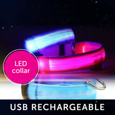 Dog Collar USB LED Light Night Safety Flashing Glow in the Dark Pet Accessories