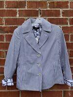 Talbots Seersucker Nautical Jacket Blue White Blazer Button Cotton Size 8 Medium
