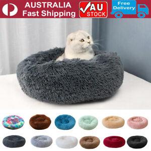 70CM Pet Dog Cat Calming Bed Round Nest Warm Soft Plush Comfy Sleeping Mat Cave