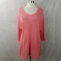 CJ Banks Plus size 2X 18/20 Sweater Stretch pink open knit top Net cover up