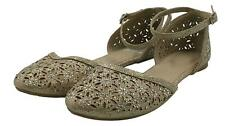 Nicole Womens Ladies Gold Glitter Ankle Strap Flats Shoes Size 8.5M
