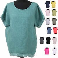 New Womens Italian Lagenlook Sequin Trim Hem & Short Sleeved Linen Top Plus Size