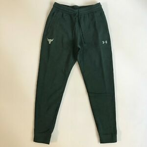 Under Armour Mens Large Project Rock Cotton Fleece Jogger Sweat Pants Green 1291