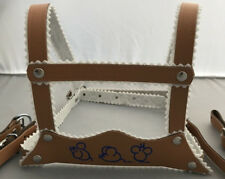 HARNESS REINS LEATHER for SILVER CROSS COACH BUILT BABY PRAM BEIGE - MICE MOTIF