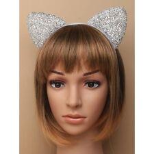 NUOVO Argento Scintillante orecchie da gatto in tessuto Aliceband Cerchietto Costume
