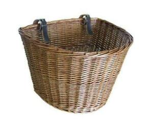 Medium Traditional Wicker Willow Bicycle Front Basket with Leather Straps