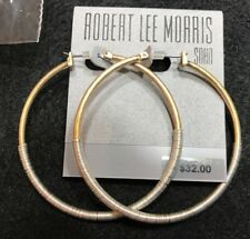 "Robert Lee Morris Soho Two-Tone Wire-Wrapped Hoop Earrings, 2"" Dia., Brand New!"