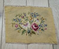 Antique Vintage Needlepoint Chair Seat Cover Fabric Salvaged Tan Rose Flowers