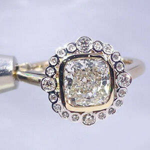4.3Ctw Ice Crushed Cushion DEF Moissanite Halo Wedding 14K Solid Multi-Gold Ring