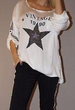 NEU Tunika Glitzer Sterne Streifen Vintage Blogger S 36-40/42 M Weiß Must Have