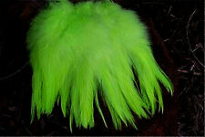 Fluorescent Chartreuse Rooster Saddle Hackle Strung Feathers    US Seller