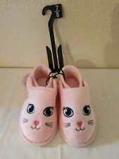 Wonder Nation Toddler Girl Pink Cat Slippers With Nylon Fasteners, Size 7/8,...