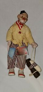 "Vintage 1989 Heritage Mint 16"" Porcelain & Cloth Hobo Clown Doll Ben With Tags"