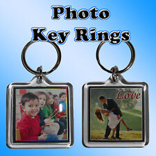 Personalised Photo Key Ring - 4cm Square, with a name or msg - Keyring Gift Idea
