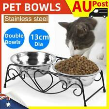 Double Elevated Pet Bowl Dog Cat Feeder Food Water Raised Lifted Stand Rack 13cm