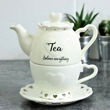 Ceramic Heart Country Tea For One Teapot Kitchen Cup with Saucer Tea Serving Set