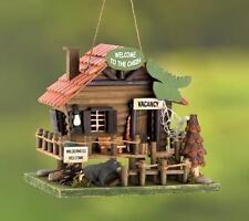 New listing Woodland Cabin Wooden Birdhouse Bear Moose Pine Tree Rustic Yard Garden Decor