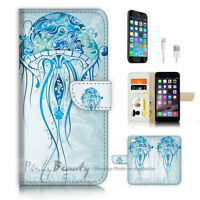 ( For iPhone 7 ) Wallet Case Cover P3199 Jelly Fish
