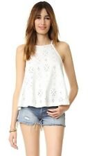 146527 New $88 Free People Dream Date Eyelet Lace Up Ivory Tank Blouse Top S
