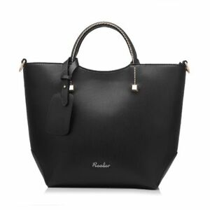 Women Handbag Large Bucket Shoulder Zipper Artificial Leather Tote Bag Polyester