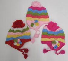 niña Sombrero Lana Rosa Multicolor pompón rojo infantil 1-3 años