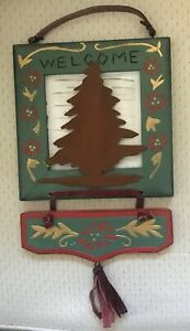 A ? Tin Christmas Tree with Poinsettias Wooden 'WELCOME' Sign!.