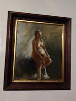 Original quality  ANTIQUE art Nude study Pregnant? woman IMPRESSIONISM SGND FRMD