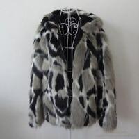 Mens Warm Coat Warm Faux Rabbit Fur Thicken Slim Fit Jackets Hood Collar Popular