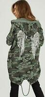 New Ladies Sequin Angel Wings Back Over-sized Hoodie Women Jacket Coat Cardigan