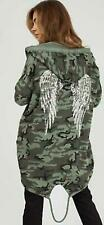 Ladies Hoodie Angel Wings Sequin Back Over-sized Women Jacket Coat Cardigan Cott