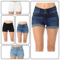Wax Women's Juniors Denim Shorts Waist Stretchy Push Up Short Pants (S-L)