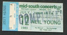 1983 Neil Young concert ticket stub Memphis TN Everybody's Rockin