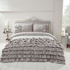 FLAMENCO RUFFLE GREY SINGLE DUVET COVER SET ELEGANT BEDDING