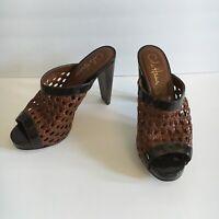 Cole Haan NikeAir Woven Brown Leather Strap Sandals Platform Slides Size 6.5 B
