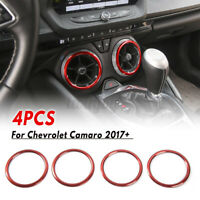 4XRed Air Vent Outlet Ring Cover Trim Fit For Chevrolet Camaro 2017+ Accessories