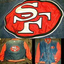 San Francisco FORTY NINERS STARTER JACKET XL PATCH 49ERS DENIM JEAN SATIN VTG