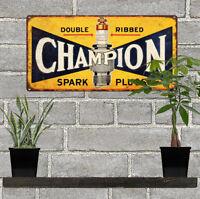 "Champion Spark Plug Metal Sign Advertising Repro Garage Shop 6x12"" 60194"